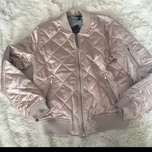 Pink Champagne Satin bomber jacket